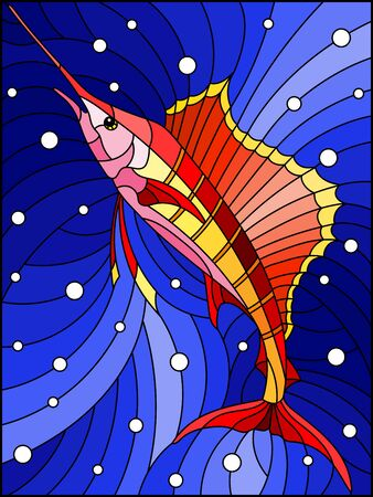 Illustration in the style of stained glass with a red fish sail on the background of water and air bubbles