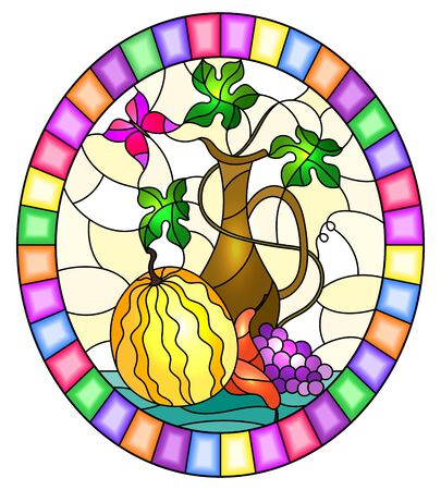Illustration in stained glass style with still life, fruits, berries and melon  on yellow background,oval image in bright frame