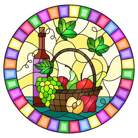 The illustration in stained glass style painting with a still life, a bottle of wine,  and fruits on a yellow background,oval image in bright frame