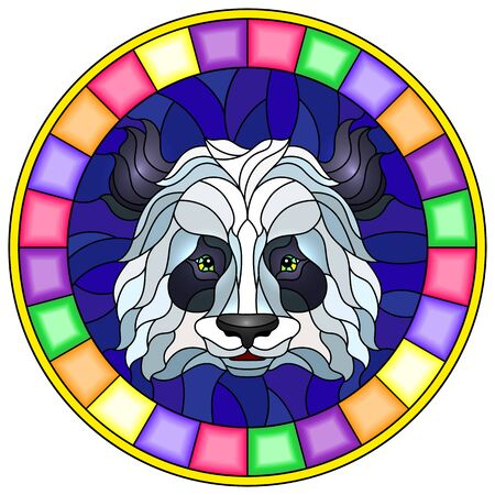 The illustration in stained glass style painting with a panda bears head , a circular image with bright frame