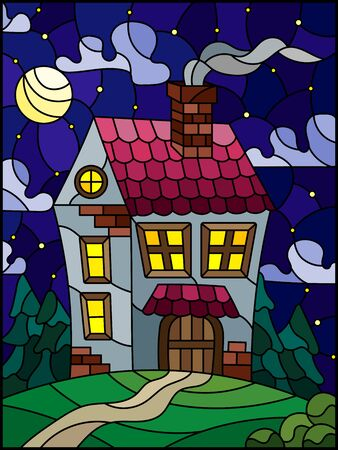 Illustration in stained glass style with a lonely house on a background of green forest, starru sky and moon
