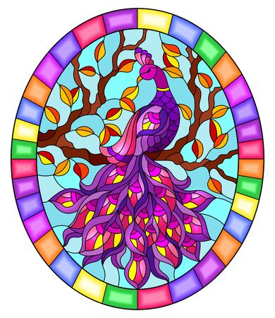 Illustration in stained glass style bird peacock and tree branches on background of blue sky, oval image in bright frame