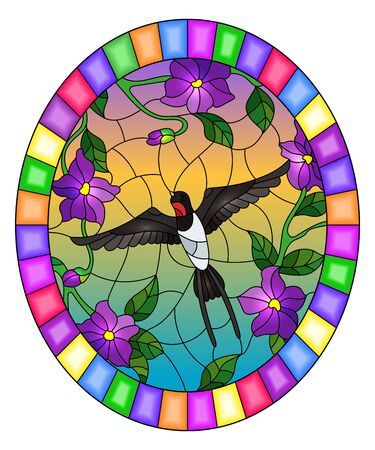 Illustration in stained glass style with bird swallow on background of purple flowers and sky, oval picture in bright frame Ilustração