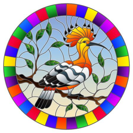 Illustration in stained glass style with hoopoe bird sitting on a tree branch against the sky, round image in bright frame  Ilustração