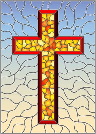 The illustration in stained glass style painting on religious themes, stained glass window in the shape of a yellow Christian cross , on a blue  background