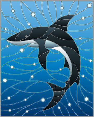 Illustration in the style of stained glass with shark on the background of water and air bubbles Ilustração