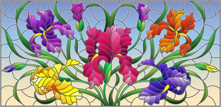 Illustration in stained glass style with purple bouquet of irises, flowers, buds and leaves on blue background Ilustração