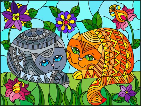 Illustration in stained glass style with a pair of  cute cats on a background of meadows, bright flowers and sky
