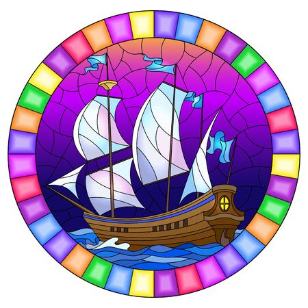 Illustration in stained glass style with an old ship sailing with white sails against the sea,  oval image in a bright frame