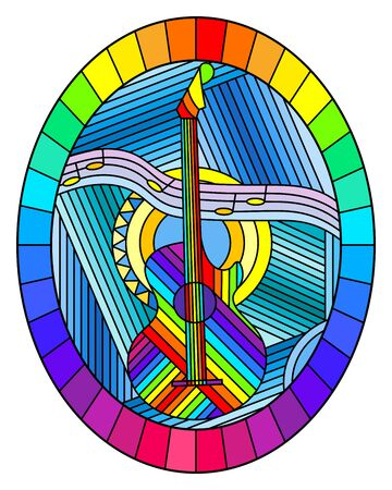 Illustration in stained glass style on the theme of music, abstract guitar and notes on a blue background, oval image in bright frame