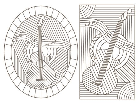 A set of contour illustrations of stained glass Windows on the theme of music, abstract guitars and notes, dark contours on a white background Ilustração