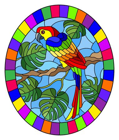 Illustration in stained glass style bird parakeet on branch tropical tree against the sky, oval image in bright frame