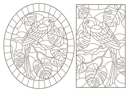 Set contour illustrations with birds parrots and leaves of tropical plants, dark contours on white background