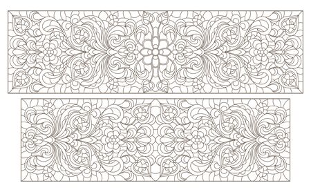 Set contour illustrations of stained glass with abstract swirls and flowers , horizontal orientation Ilustração