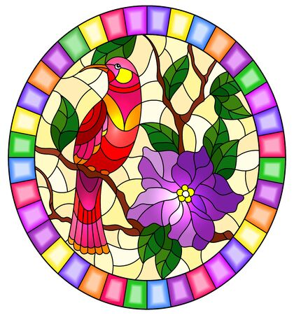Illustration in stained glass style with abstract pink bird sitting on a branch of a flowering plant, on a yellow background, oval image in a bright frame Illustration