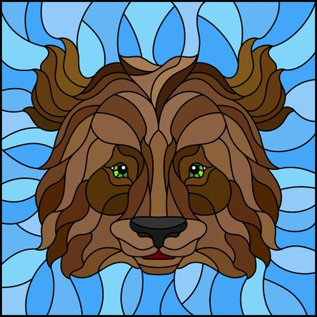 The illustration in stained glass style painting with a bear's head , on a blue background, square image 일러스트