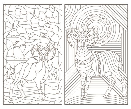 A set of contour illustrations of stained glass with abstract rams , dark outline on a white background 向量圖像