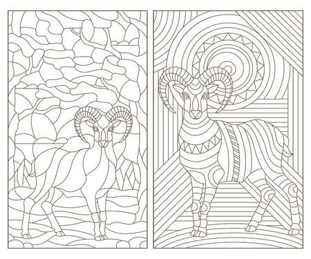 Eine Reihe von Konturillustrationen aus Buntglas mit abstrakten Widdern, dunkler Umriss auf weißem Hintergrund