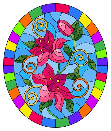Illustration in stained glass style with flowers and leaves  of lilies on a blue background, oval image in bright frame Illustration