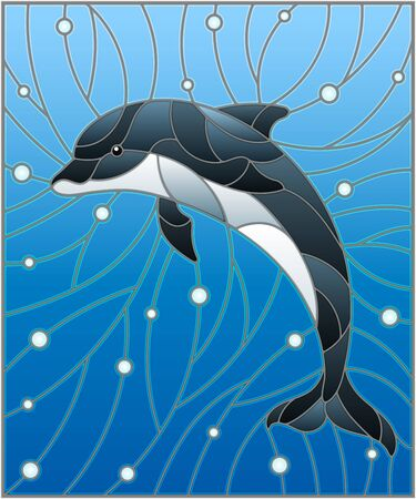 Illustration in the style of stained glass with dolphin on the background of water and air bubbles Ilustração