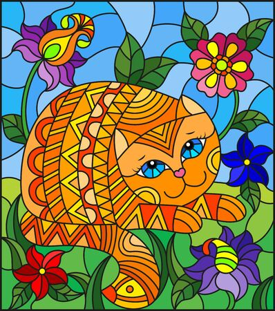 Illustration in stained glass style with a    cute red cat on a background of meadows, bright flowers and sky
