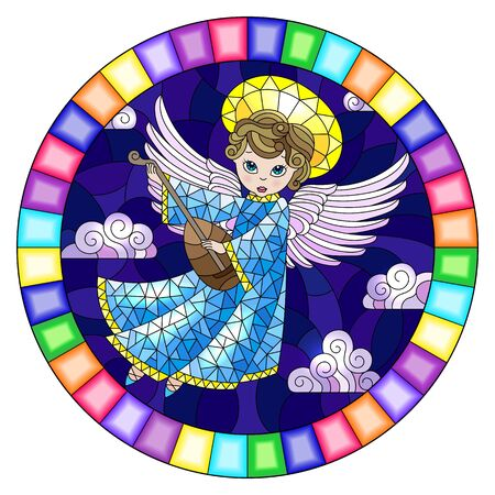 Illustration in stained glass style with cartoon  angel  in blue dress playing the lute against the cloudy night sky,round image in bright frame