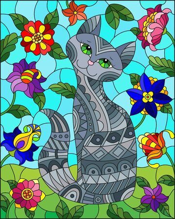 Illustration in stained glass style with a cute grey cat on a background of meadows, bright flowers and sky