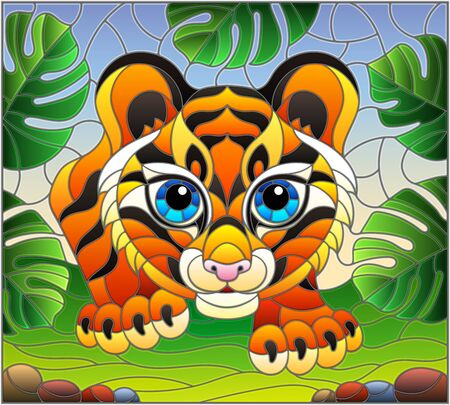 Illustration in stained glass style with baby tiger on the hunt, animal on the background of tropical leaves