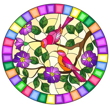 Illustration in stained glass style with two two bright birds on the branches of blooming wild rose on a yellow background,oval image in bright frame