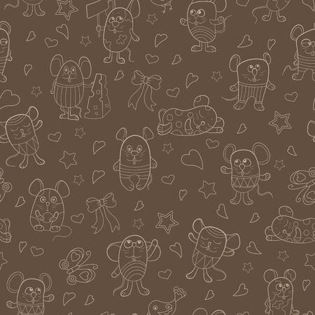 Seamless pattern with funny cartoon contour mouses ,the  beige  outlines on a brown background 일러스트