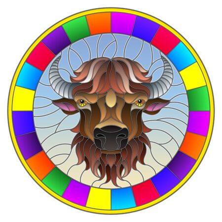 Illustration in stained glass style with bison head in round frame on white background Ilustração