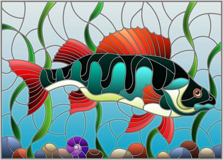 Illustration in stained glass style with a  fish  perch on the background of water and algae