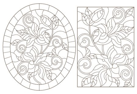 Set contour illustrations in the stained glass style with floral pattern , bouquet of lilies , dark outline on a white background