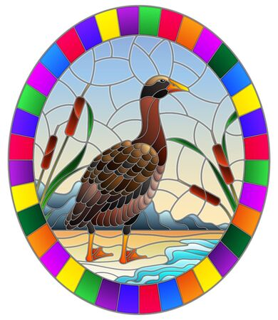 Illustration in stained glass style with wild goose on beach background with reeds and Sunny sky, oval image in bright frame Standard-Bild - 129420888