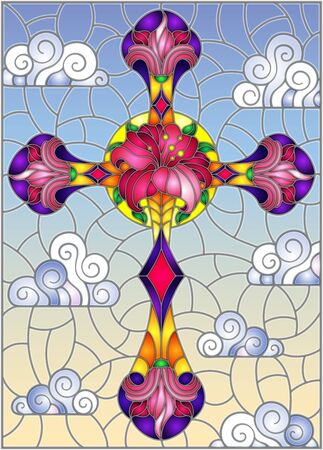 Illustration in stained glass style with Christian cross decorated with  pink flowers on blue sky background with clouds