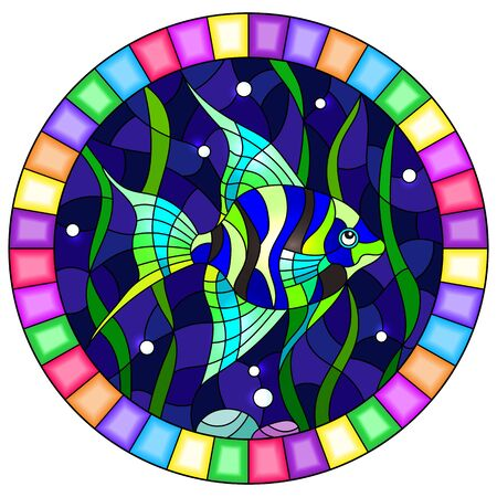 Illustration in stained glass style bright  fish scalar on the background of water and algae, oval image in bright frame Ilustração