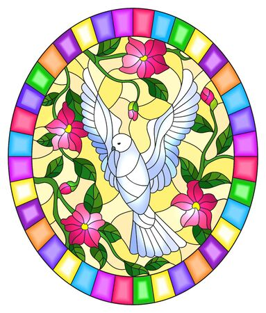 Illustration in stained glass style with flying white dove and pink flowers on yellow background, oval picture in bright frame