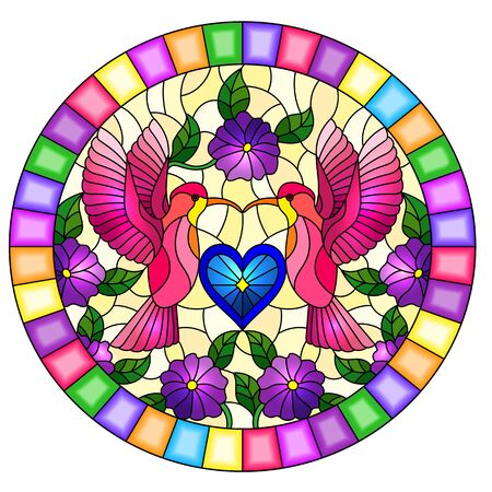 Illustration in stained glass style with a pair of hummingbirds, flowers and a heart ,oval image in bright frame