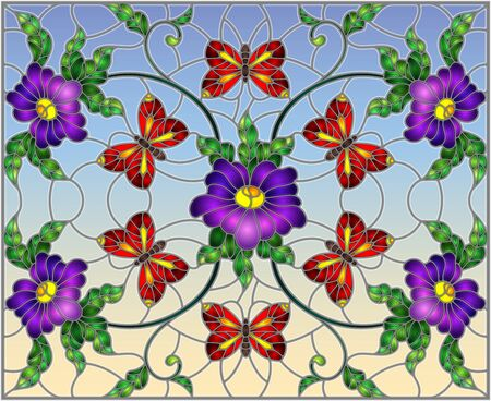 Illustration in stained glass style with abstract curly purple flower and a red butterfly on blue background