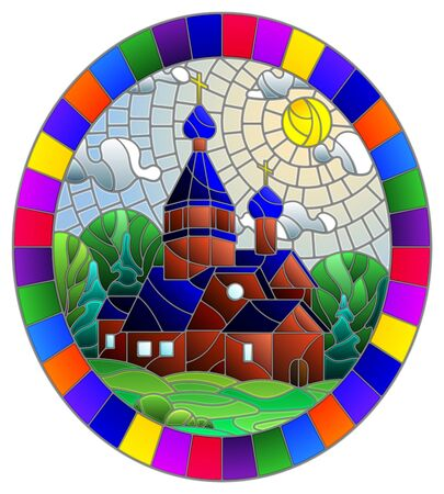 Illustration in stained glass style with Church on the background of summer landscape, a Church on the background of the Sunny sky and green trees, oval image in bright frame Standard-Bild - 129420925