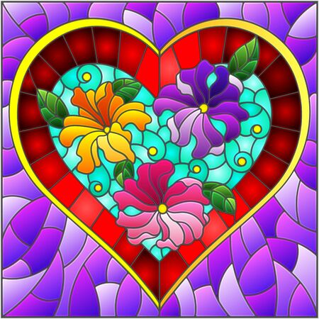 Illustration in stained glass style with bright red heart and flowers on purple background