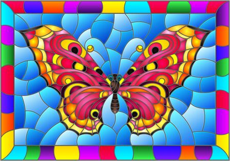Illustration in stained glass style with bright pink butterfly on a blue background in a bright frame Standard-Bild - 129422745