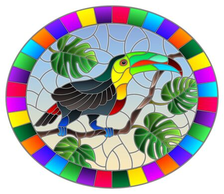 Illustration in stained glass style bird Toucan on branch tropical tree against the sky, oval image in bright frame Ilustração