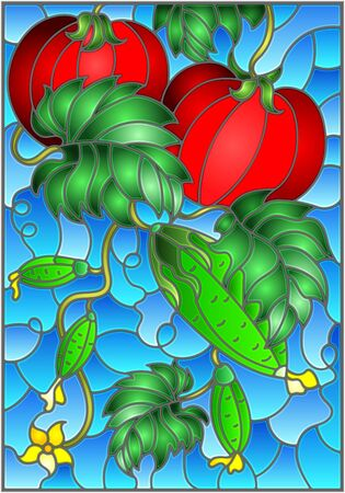 Illustration in stained glass style with vegetable composition, ripe tomatoes, cucumbers and leaves on a blue background Ilustração