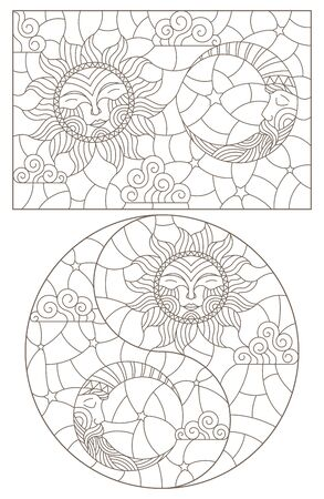 Set of outline illustrations of stained glass Windows with sun and moon on cloudy sky background, dark outlines on white background Illustration