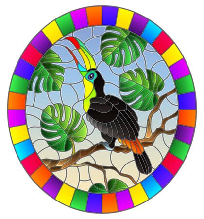 Illustration in stained glass style bird Toucan on branch tropical tree against the sky, oval image in bright frame Ilustrace