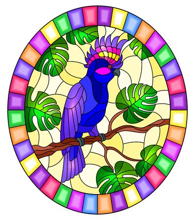 Illustration in stained glass style  bird blue cockatoo parakeet on branch tropical tree against the sky,oval image in bright frame Ilustração