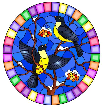 Illustration in stained glass style with a pair of great Tits birds on the branches of a Rowan tree on the background of snow, berries and sky, round image in bright frame