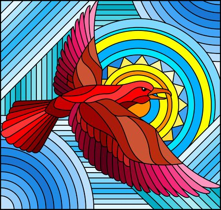 Illustration in stained glass style with abstract geometric red bird on an blue background with sun
