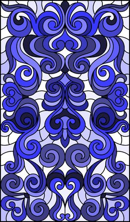 Illustration in stained glass style with abstract  swirls and leaves  on a light background,vertical orientation, blue tone Ilustração
